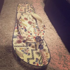 Tory Burch leather wedge flip flop